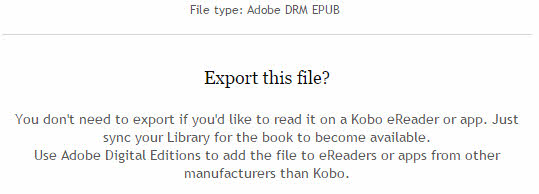 kobo export a file