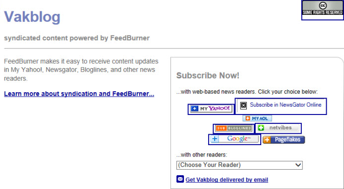 feedly via feedburner