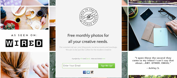 death to the stock photo signup