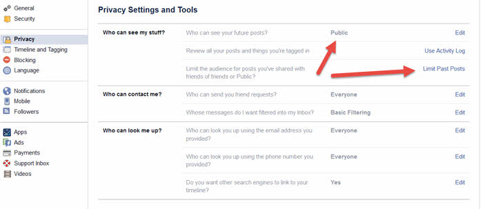 facebook search privacy settings