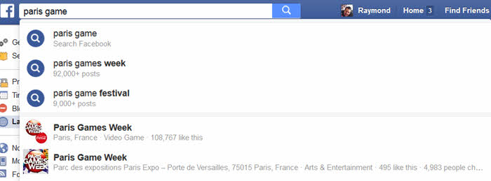 facebook search zoeksuggesties