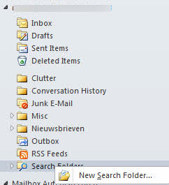 outlook search folder