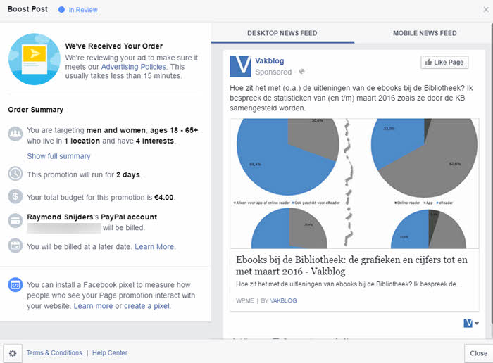 facebook ads boost post