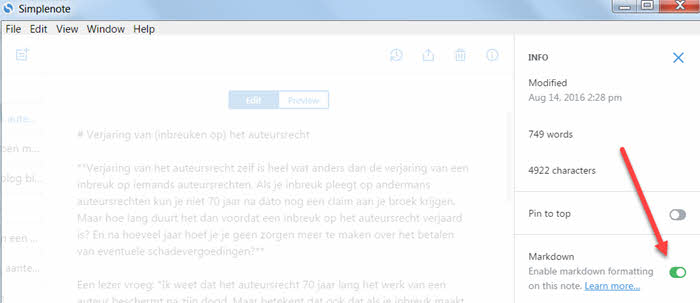 simplenote markdown