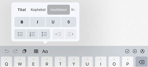 ios11 notities tekstopmaak