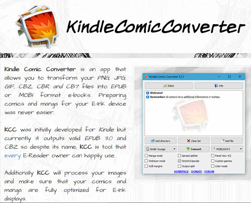 kindle comic converter website