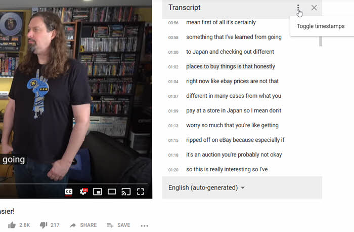 YouTube video transcript ondertiteling